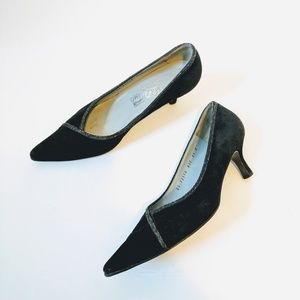 Ferragamo | Vintage Black Suede Point Kitten Heels